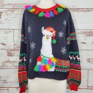 Llama Christmas Sweater Holiday Time S Tassles